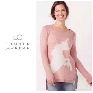 Lauren Conrad Sparkle Unicorn Tunic Sweater Size M